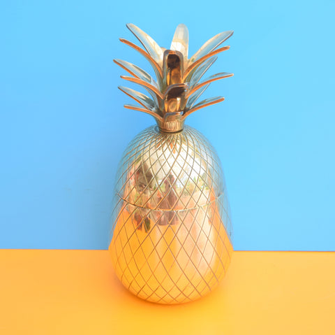Vintage Metal Pineapple Ice Bucket / Ornament, Brass