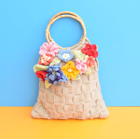 Vintage 1970s Knitted / Crochet Handbag - Flowers