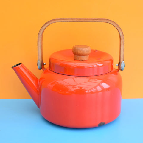 Vintage 1960s Enamel Kettle -  Wooden Handle - Tomato Red