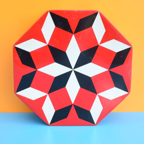 Vintage 1970s Swiss Metal Tin - Geometric- Red & Black