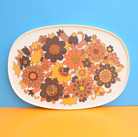 Vintage 1960s Flower Power M&S Tray - Orange & White