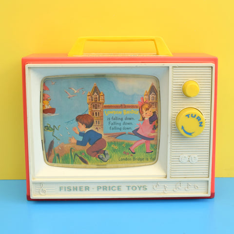 Vintage 1960s Fisher Price Giant Screen Music Box Tv - London Bridge / Row, Row, Row Your Boat