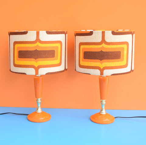 Vintage 1960s Orange Resin / Plastic Lamp Pair - Geometric Shades, Orange & Brown