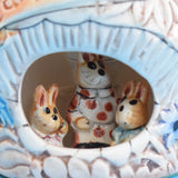 Vintage 1970s Ceramic Night Lamp - Carrot Cottage- Bunnies