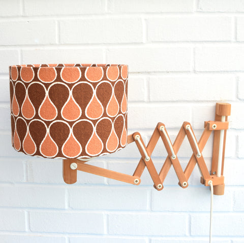 Vintage 1970s Wooden Scissor Wall Lamp - Geometric Shade, Brown