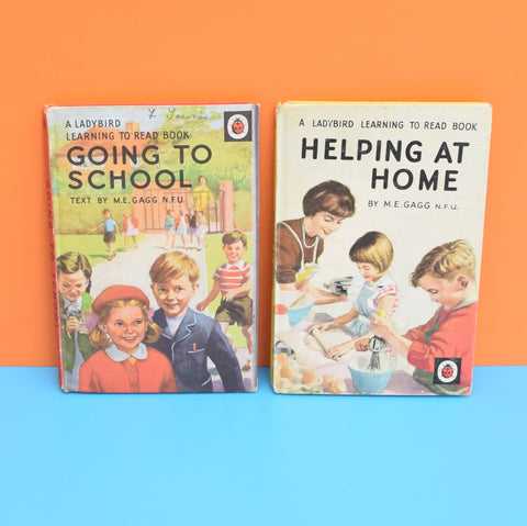 Vintage Ladybird Books - Helping At Home , Going To School