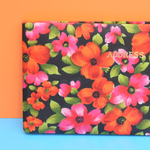 Vintage 1960s Flower Power Address Book - Red, Pink
