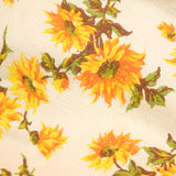 Vintage 1960s Fabric - Barkcloth Sunflowers , Yellow , Green