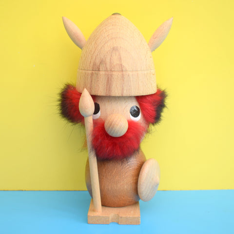 Vintage 1970s Viking Figure - Red Fur & Light Wood - Denmark