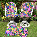Vintage 1980s Seat Cushion Pads - Parrots & Flower Power x4