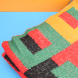 Vintage 1970s Wooly Blanket Or Throw - Black / Red / Yellow
