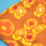 Vintage 1960s Handmade Knitting Bag / Storage Bag - Flower Power - Orange. Yellow & Brown