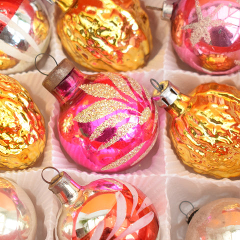 Vintage 1950s Small Glass Christmas Baubles - Boxed (Walnuts)