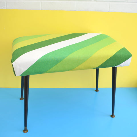 Vintage 1970s Rectangular Footstool / Seat - Striped 1970s Cotton - Green