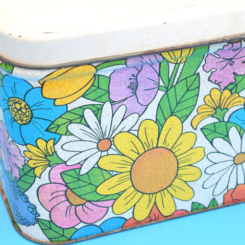 Vintage 1960s Huge Kitsch Metal Flower Power Bread Bin / Tin, Pink, Yellow