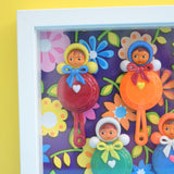 Vintage 1960s Plastic Doll Rattles Box Framed Picture -  Nevalyashka (Russian) Style - Flower Power