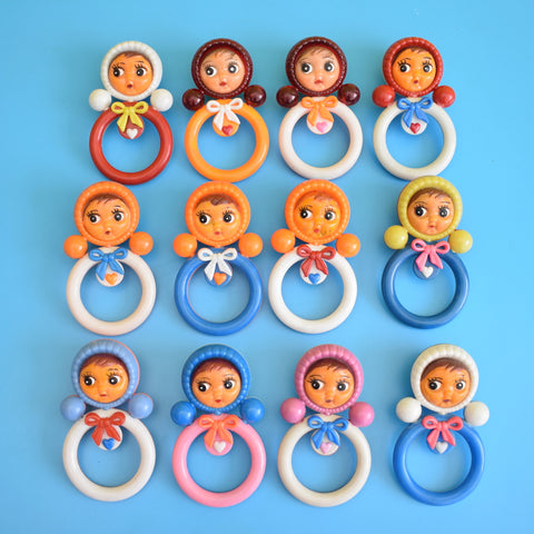 Vintage 1960s Plastic Doll Ring Rattles - Bright Rainbow Colours Nevalyashka (Russian) .