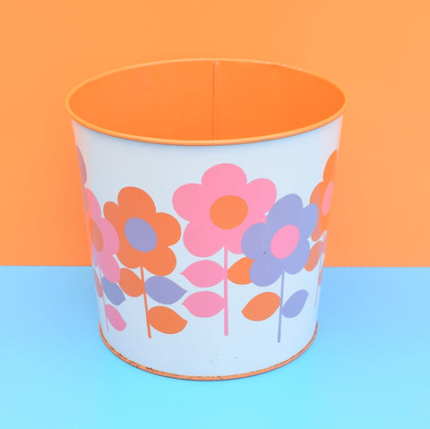 Vintage 1960s Metal Waste Paper Bin - Worcester Ware,  Orange & Pink Flower Power