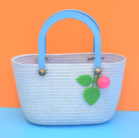 Vintage 1960s Plastic Children's Basket Bag - Baby Blue