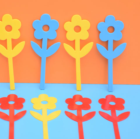 Vintage 1960s Plastic Flower Cake Decorations x 12 - Red , Yellow & Blue