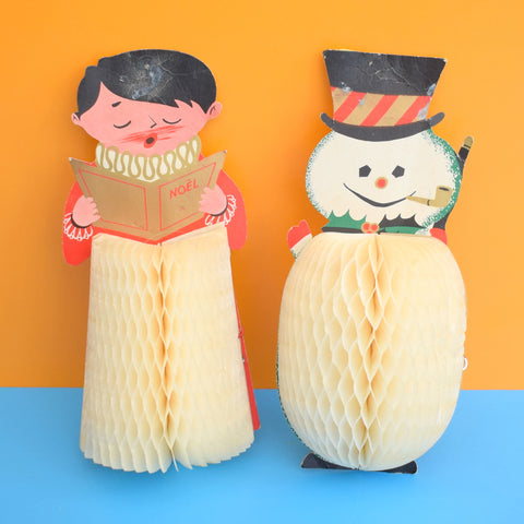 Vintage 1950s Honeycomb Paper Decorations - Snowman / Choir Boy