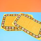 Vintage 1970s Linen Place Mats Set of 4 - Yellow, Pink, Orange