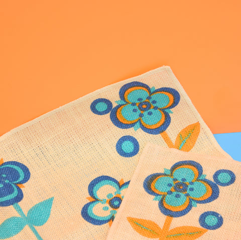 Vintage 1970s Linen 2 Place Mats - Blue, Orange