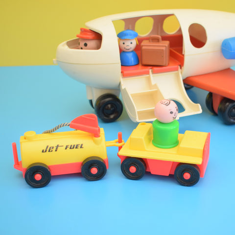 Vintage 1970s kitsch Plastic Fisher Price Little People Plane Toy - Blue / Red With Extras