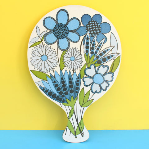 Vintage 1970s Flower Power Paddle Chopping Board - Taunton Vale - Blue