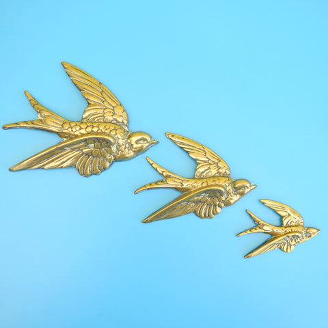 Vintage 1950s Brass Metal Flying Swallows - Wall Decor