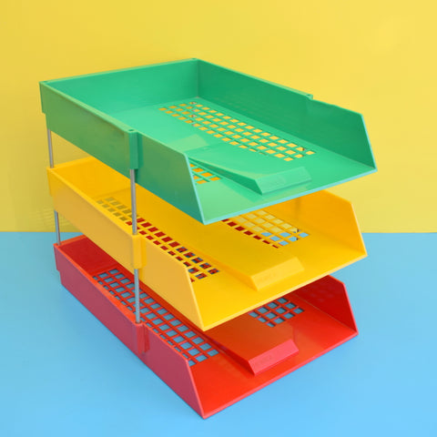 Vintage 1970s Plastic Desk Filing Tray Stack - Monica - Red, Yellow & Green