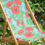 Vintage 1970s Wooden Childs Garden Deck Chair - Turquoise & Red Poppy Design