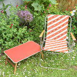 Vintage 1980s Garden Chair - Stripe Design - Red, Black & White
