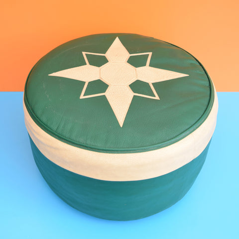 Vintage 1960s Round Footstool / Pouffe - Green & Cream