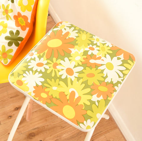 Vintage 1960s Flower Power Vinyl Folding Stool - Orange & Green