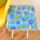 Vintage 1960s Flower Power Vinyl Folding Stool - Blue & Yellow