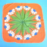 Vintage 1960s Duster Cloth - Flower Power - Orange