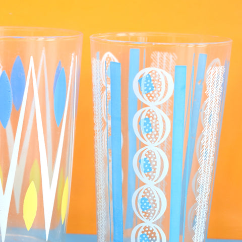 Vintage 1950s Atomic Drinking Glasses x4 - Blue
