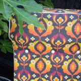 Vintage 1970s Garden Folding Sun Lounger / Chair - Orange Psychedelic Flowers