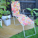 Vintage 1960s Garden Folding Sun Lounger / Chair - Pink Flower Power