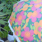 Vintage 1960s Rare Swedish Folding Garden Parasol - Flower Power - Pink