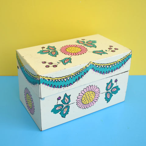 Vintage 1960s Flower Power Recipe Card Tin Box With Unused Cards
