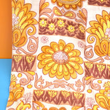 Vintage 1960s Barkcloth Curtains Flower Power -  Mustard