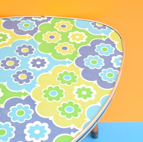 Vintage 1960s Small Triangular Side Table - Blue Flower Print