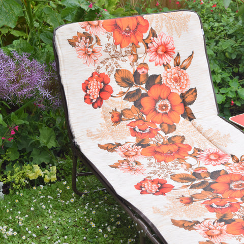 Vintage 1970s Garden Sun Lounger - Blood Orange Flower Power