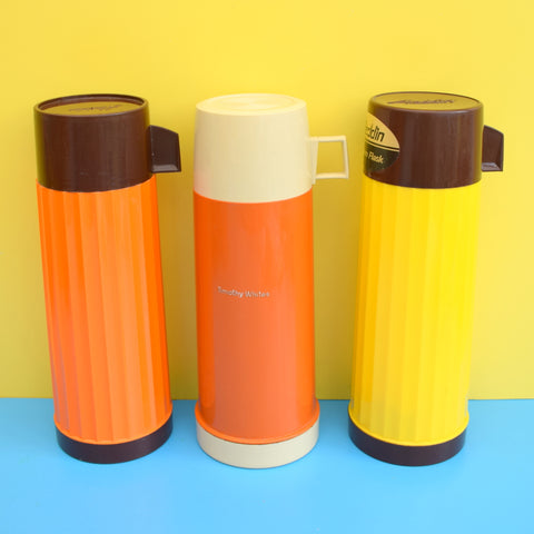 Vintage 1970s Plastic Thermos Flask Selection - Orange & Yellow