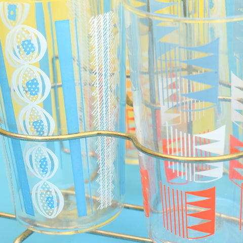 Vintage 1960s Juice Drinking Glass Harlequin Set On Stand - Atomic Print - Red, White & Blue