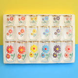 Vintage 1960s Glass Set - Boxed, Complete. Shot, Tot & Juice - Flower Power