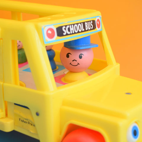 Vintage 1970s Fisher Price Big Yellow School Bus & People