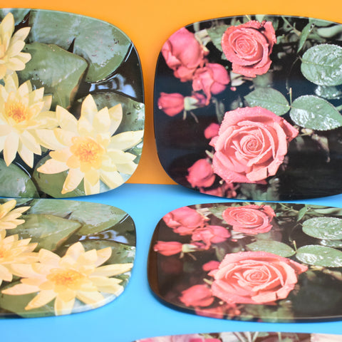 Vintage 1960s Worcester Ware Placemat Set - Flowers